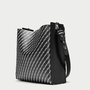 Zara black reversible bucket faux leather tote bag